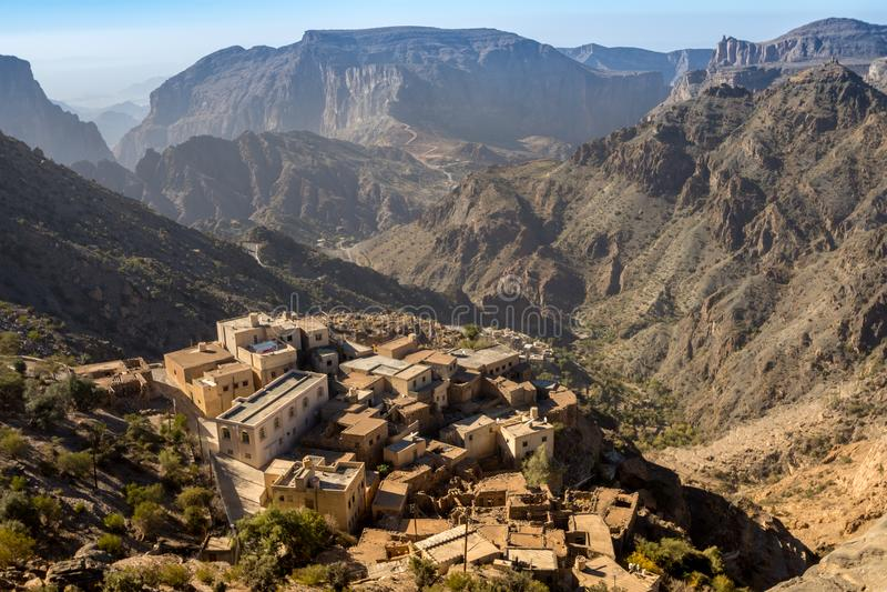 Diana Viewpoint Oman Mountains på Jabal Akhdar Al Hajar Mountains arkivbilder