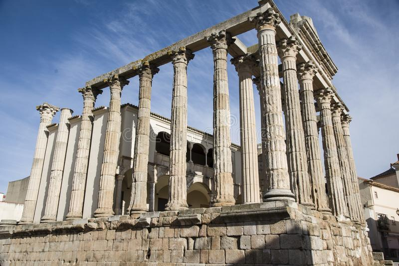 Dianas`s Temple in Merida, Spain stock image