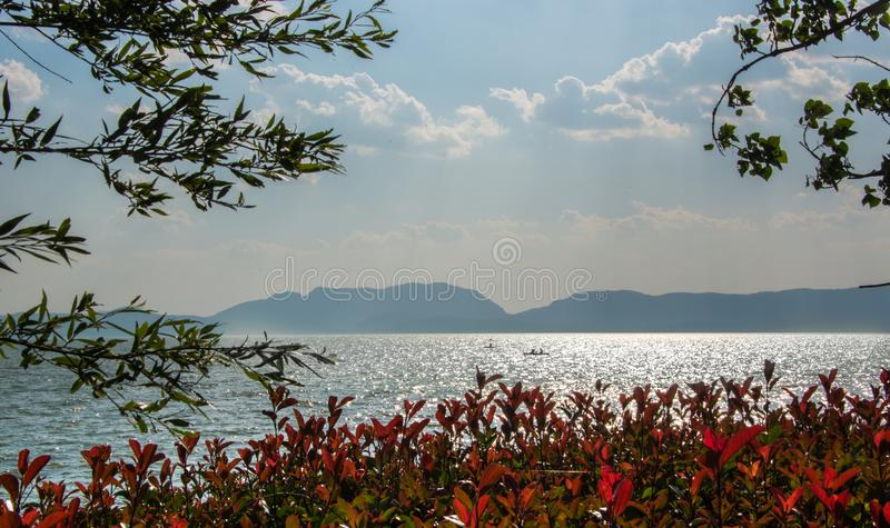 Lake dianchi in kunming. Dianchi lake, kunming, China, is a freshwater lake on the plateau, a beautiful place to visit stock photos