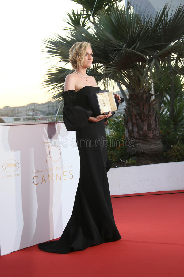 Diane Kruger, best actress. For her part in the movie `In The Fade` Aus Dem Nichts, attends the Palme D`Or Winner Photocall during the 70th Festival de Cannes royalty free stock photo