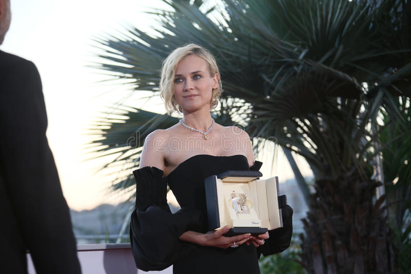 Diane Kruger, best actress. For her part in the movie `In The Fade` Aus Dem Nichts, attends the Palme D`Or Winner Photocall during the 70th Festival de Cannes stock photo