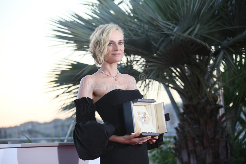Diane Kruger, best actress. For her part in the movie `In The Fade` Aus Dem Nichts, attends the Palme D`Or Winner Photocall during the 70th Festival de Cannes stock photos
