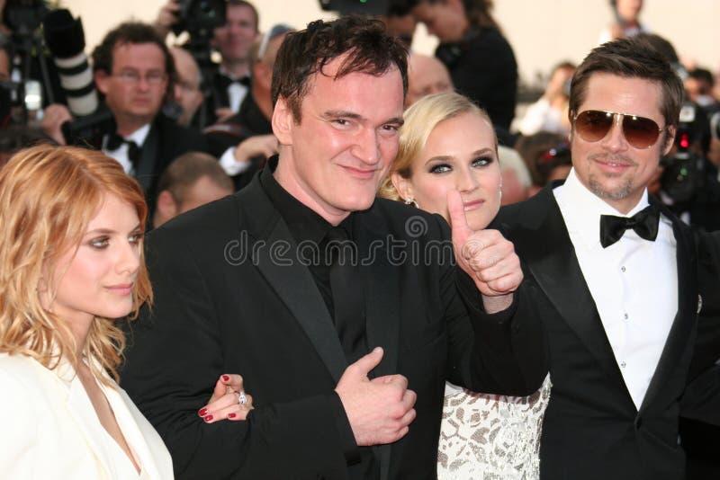 Diane Kruger, Brad Pitt, Quentin Tarantino and Me. CANNES, FRANCE - MAY 20: Diane Kruger, Brad Pitt, Quentin Tarantino and Melanie Laurent attend the Inglourious stock photos