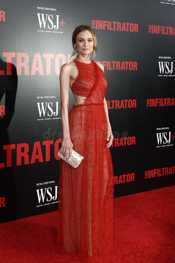 Diane Kruger. NEW YORK-JULY 11: Actor Diane Kruger attends `The Infiltrator` New York premiere at AMC Loews Lincoln Square 13 Theater on July 11, 2016 in New stock photography