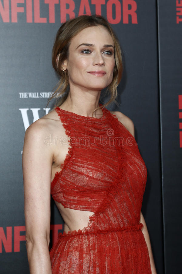 Diane Kruger. NEW YORK-JULY 11: Actress Diane Kruger attends `The Infiltrator` New York premiere at AMC Loews Lincoln Square 13 Theater on July 11, 2016 in New royalty free stock photo