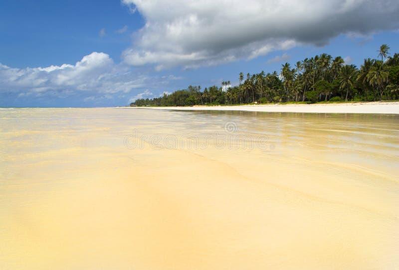 Diani beach with the tide coming in. Ukunda near Mombasa, kenya royalty free stock photography