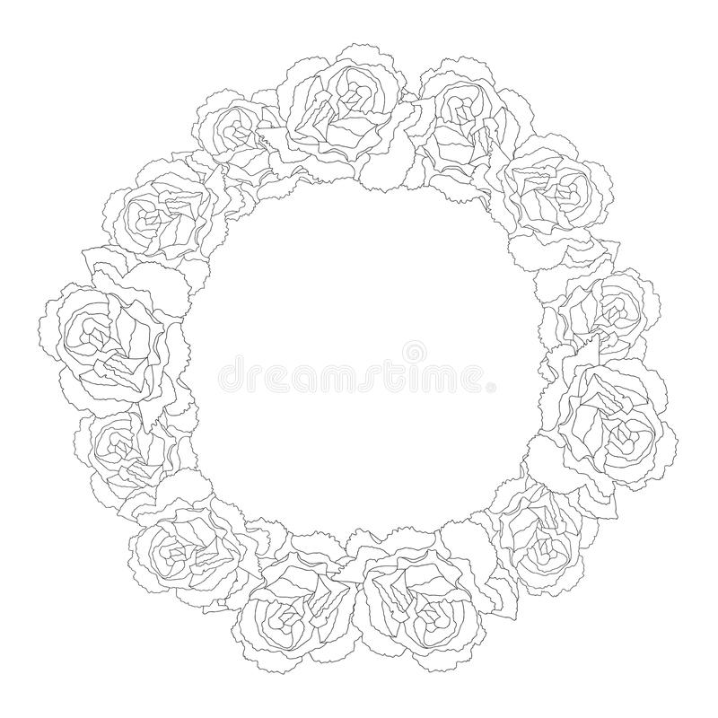 Dianthus caryophyllus - corona del profilo del fiore del garofano Illustrazione di vettore illustrazione vettoriale