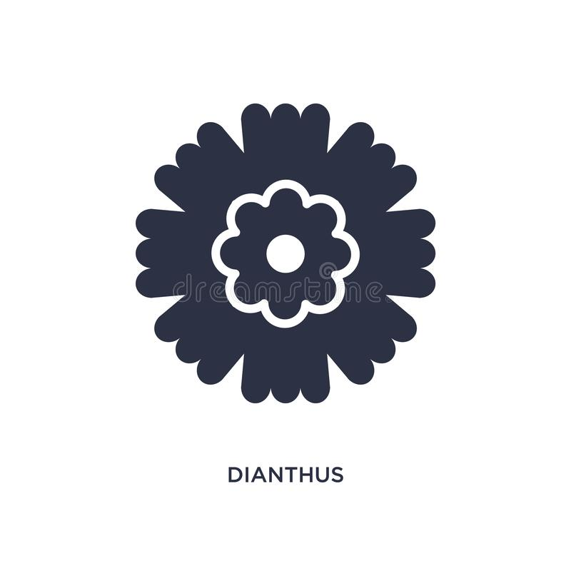 Dianthusikone auf weißem Hintergrund Einfache Elementillustration vom Naturkonzept lizenzfreie abbildung