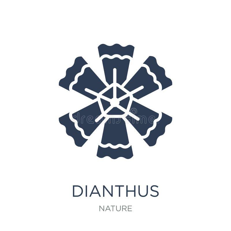 Dianthussymbol Moderiktig plan vektorDianthussymbol på den vita backgroen stock illustrationer