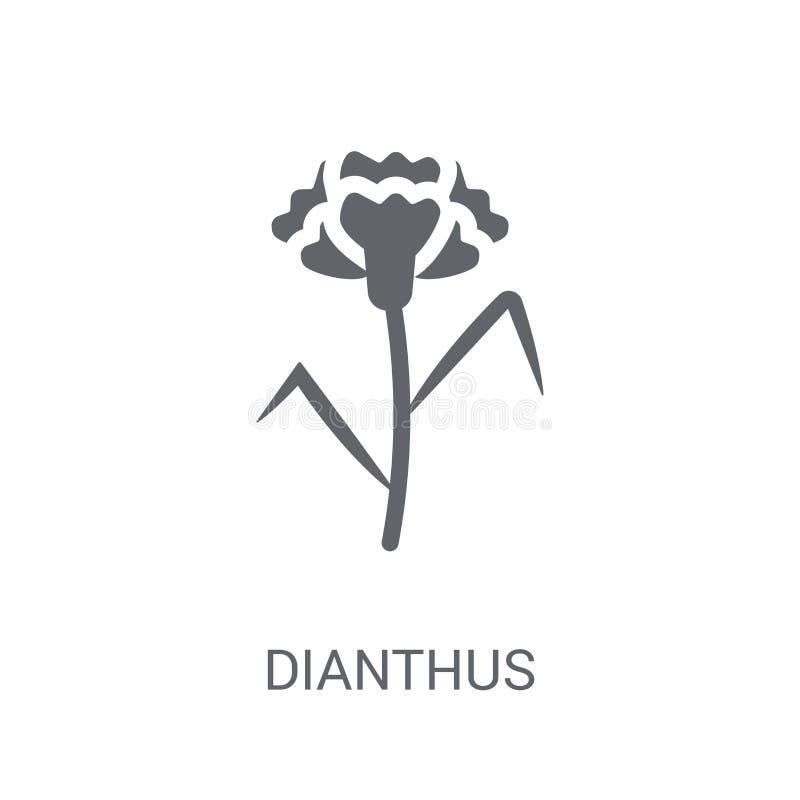 Dianthussymbol Moderiktigt Dianthuslogobegrepp på vit bakgrund royaltyfri illustrationer