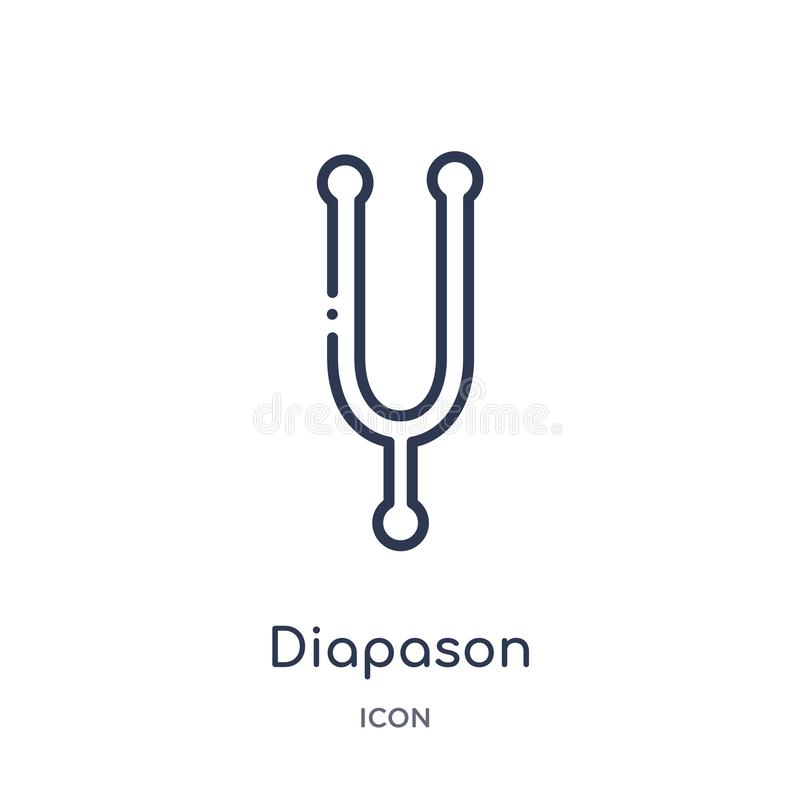 Diapason icon from music outline collection. Thin line diapason icon isolated on white background. Icon vector illustration