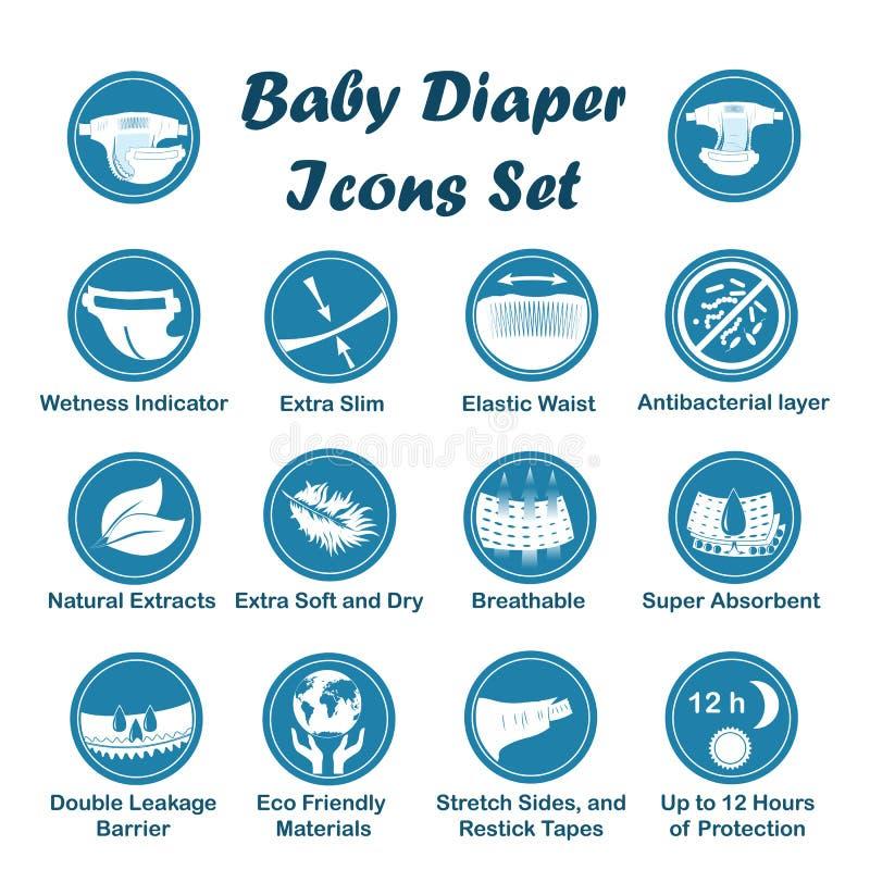 Diaper characteristics icons. Vector set royalty free illustration