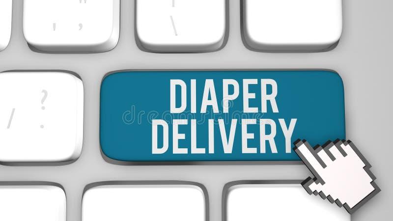 Diaper delivery online service concept. 3D render illustration royalty free illustration