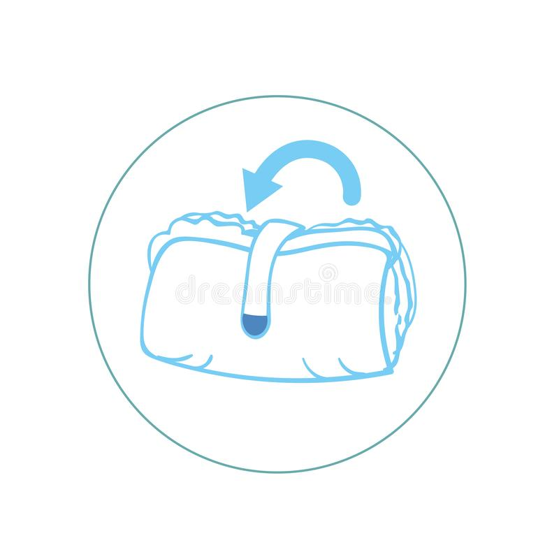 Diaper panties for baby infographics. how to throw out diaper panties. kids pants, with characteristic of icons royalty free illustration