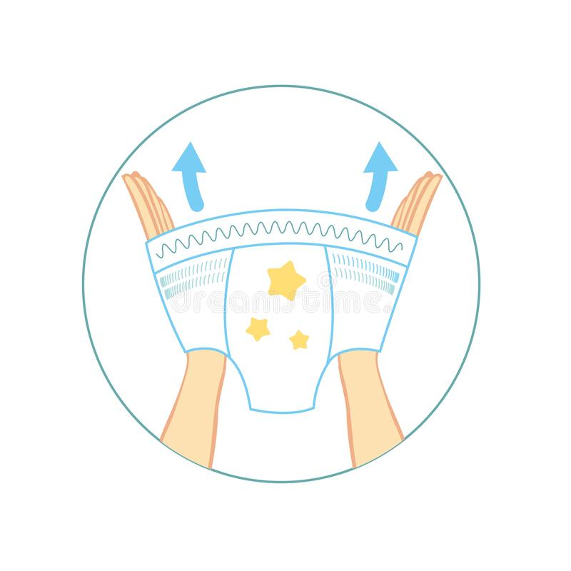 Diaper panties for baby infographics. kids pants, with characteristic of icons. Moisture resistance, ventilation royalty free illustration