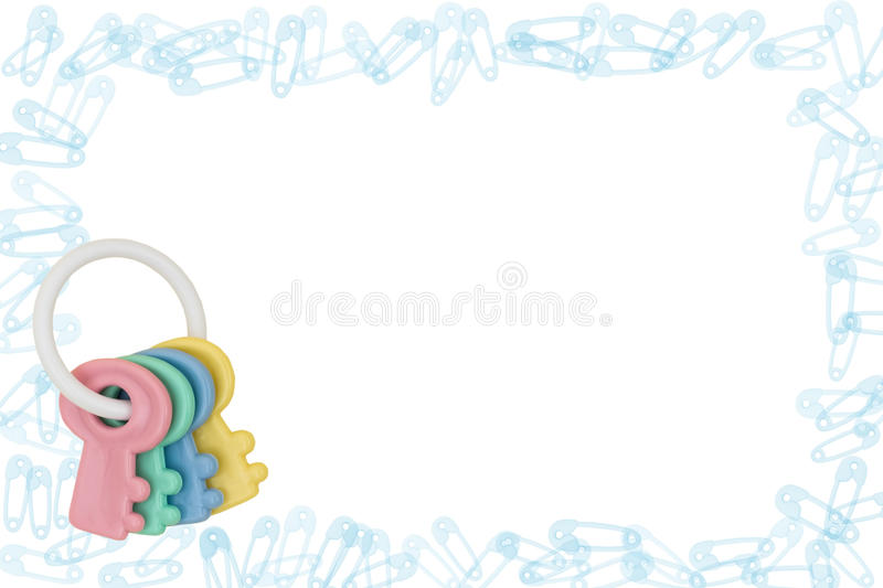 Diaper Pin Border and Rattle stock photography