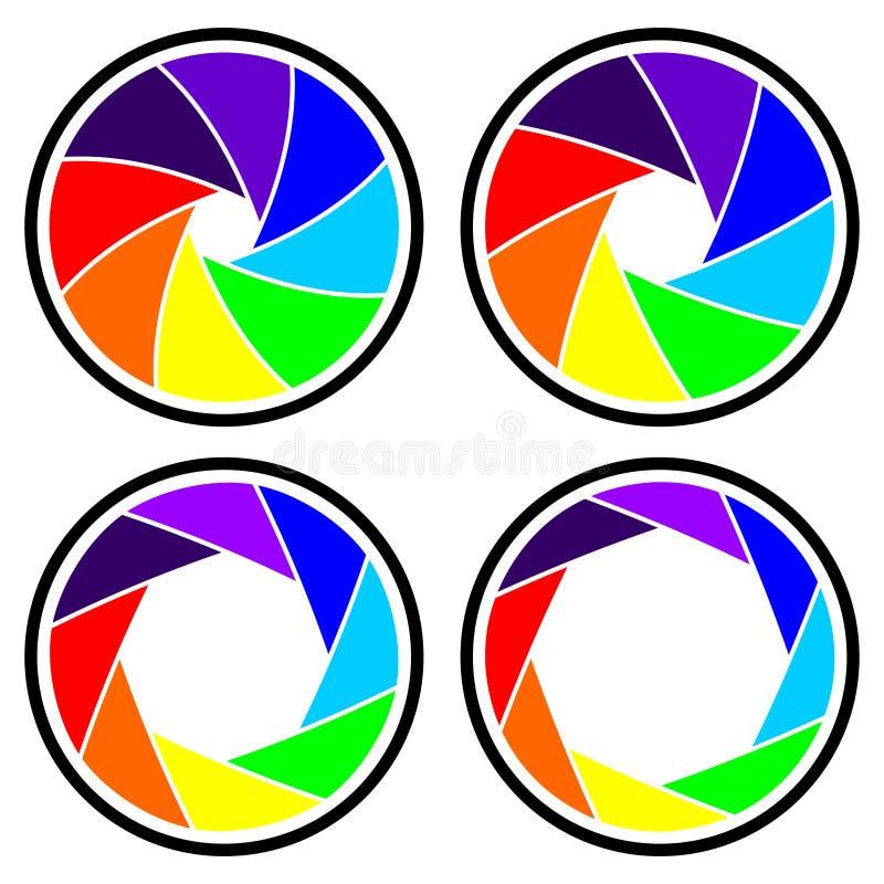 Diaphragm. Vector camera shutter apertures (diaphragm), isolated over white vector illustration