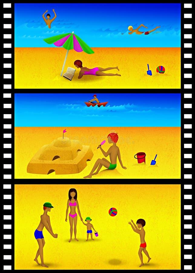 Diapositivas de la reconstrucción de la playa stock de ilustración