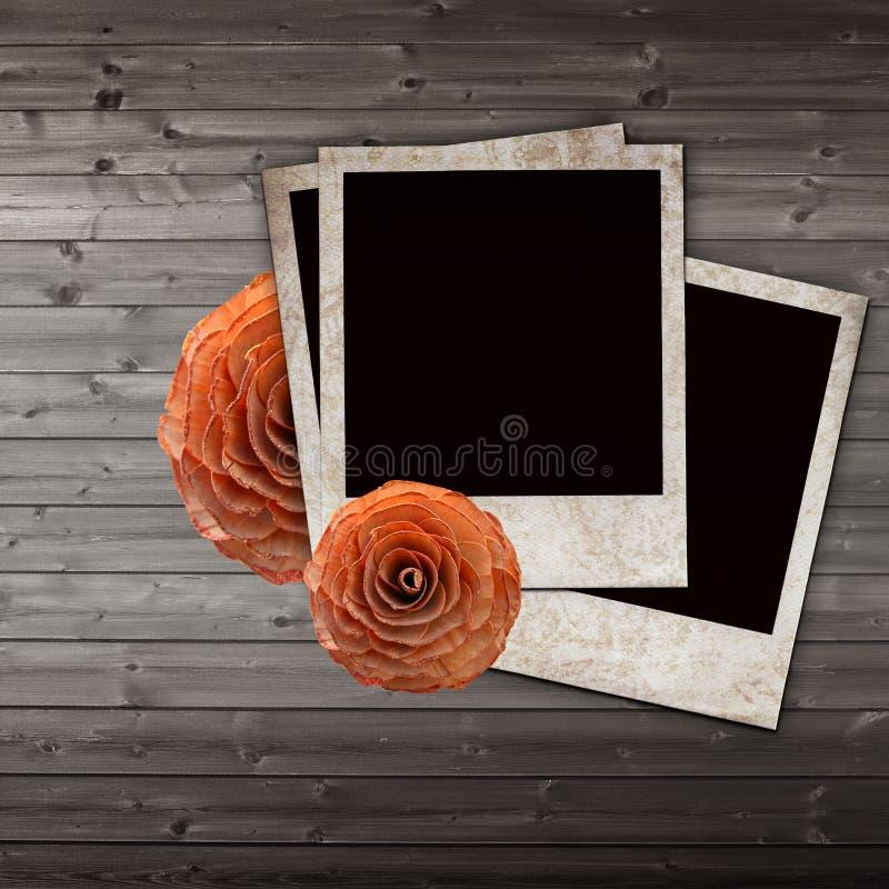 Diapositivas y rosas viejas del papel del grunge stock de ilustración