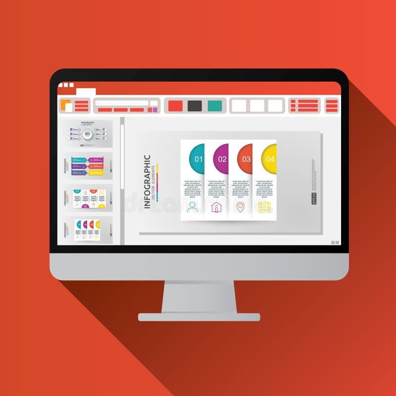 diapresentatie op het vlakke pictogram van het Computerscherm Bedrijfs rapportconcept bureaudingen voor planning en het rekenscha stock illustratie