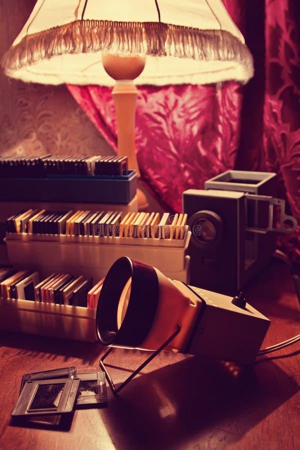 Diaprojector en dia's stock fotografie