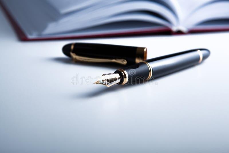 Diario con la penna stilografica fotografie stock libere da diritti