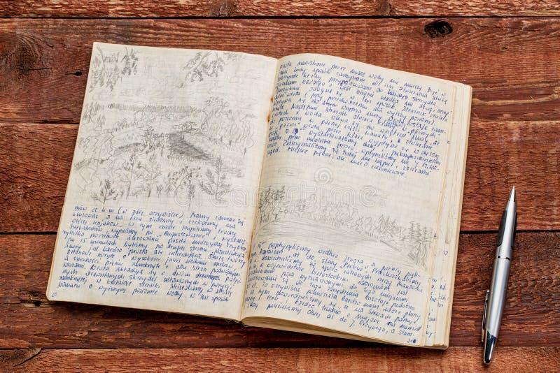 Diario de la expedición del kajak imágenes de archivo libres de regalías