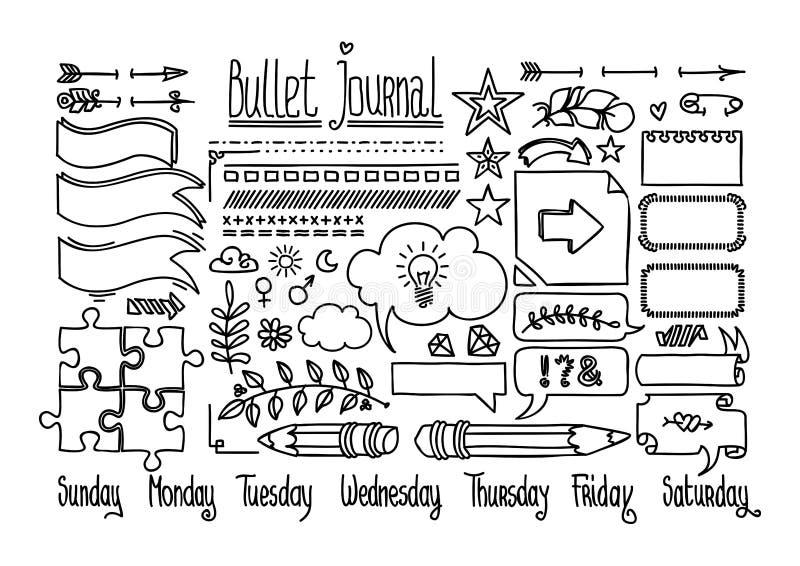 Diario de viñetas y elementos diarios aislados en blanco Doodles de líneas trazadas a mano, carteles de burbujas de voz Dibujado  ilustración del vector