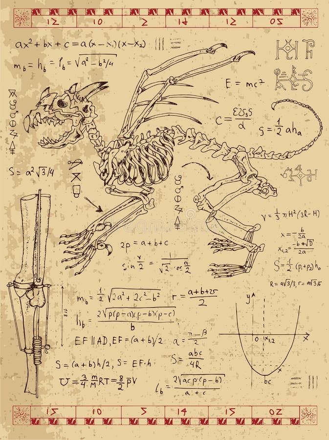 Diario di Frankentsein con lo scheletro del mostro di fantasia, le formule di per la matematica ed i simboli mistici illustrazione vettoriale