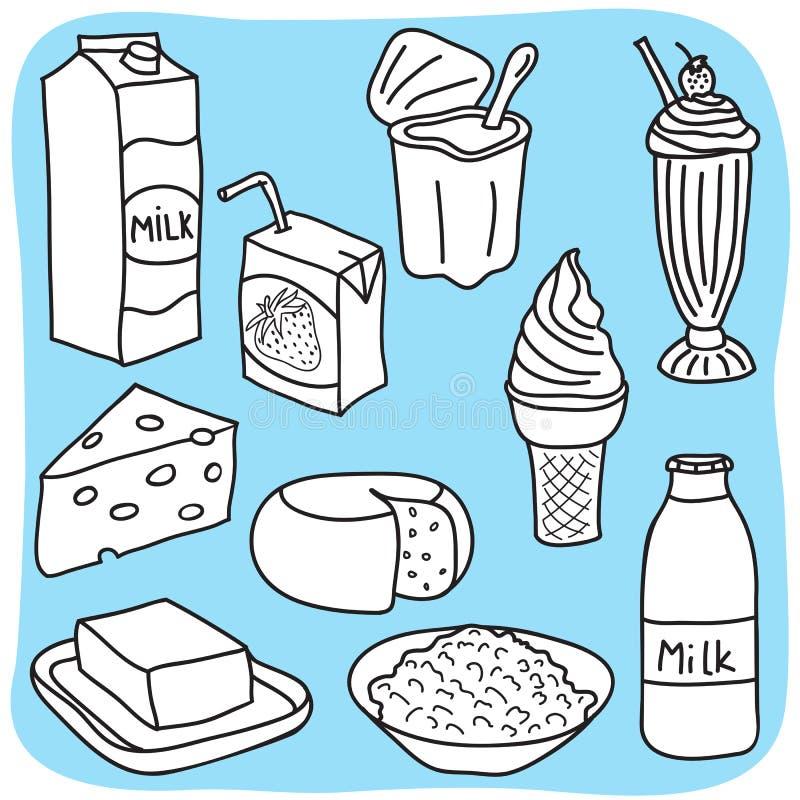 Diario e prodotti lattiero-caseari illustrazione vettoriale