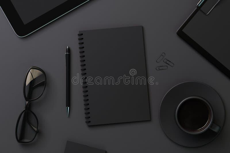 Diario ed accessori neri in bianco illustrazione vettoriale