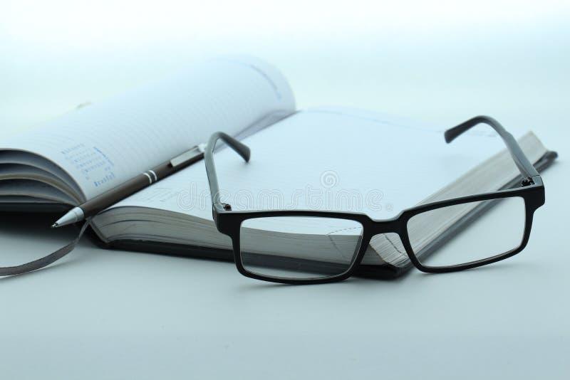 Diario, pluma y vidrios fotos de archivo libres de regalías