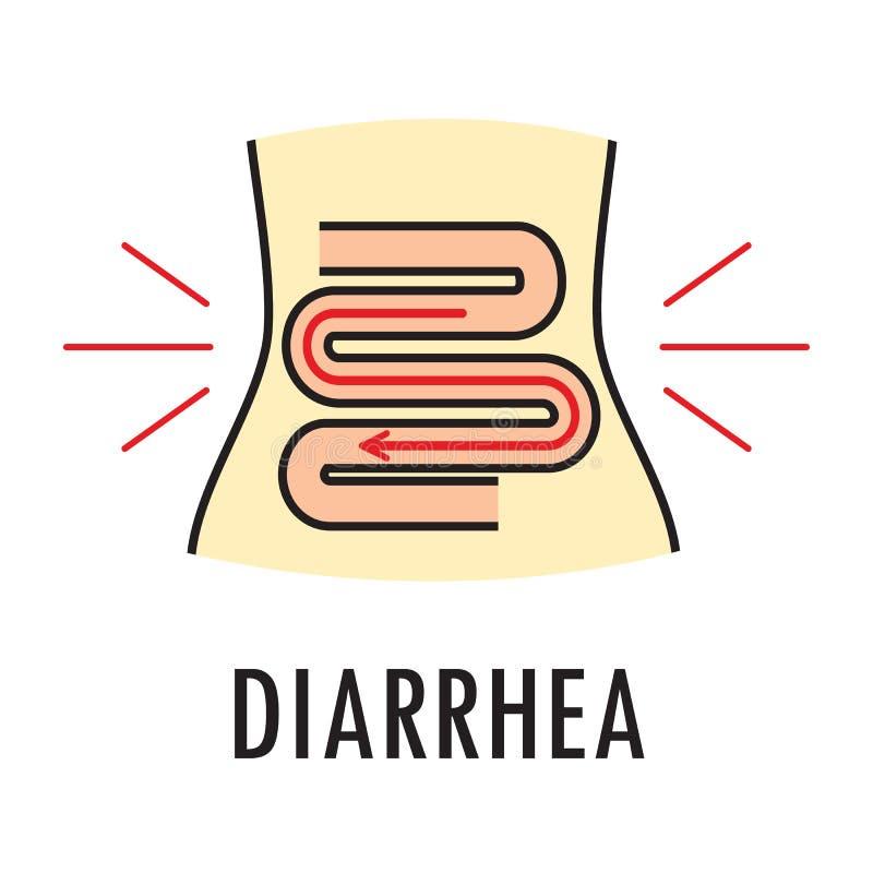 Diarré- eller matförgiftning Logo- eller symbolsmall i kulör linjär stil som isoleras på vit bakgrund vektor illustrationer