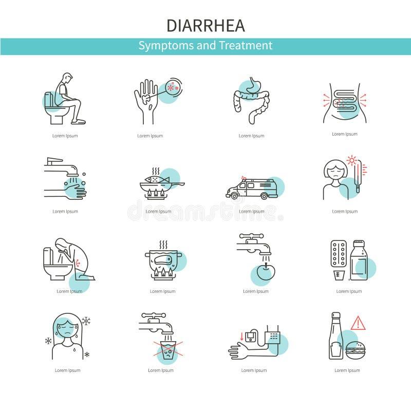 Diarrea medica delle icone illustrazione vettoriale