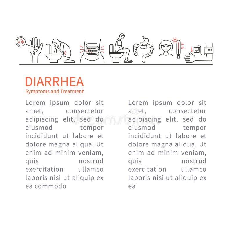 diarrhée Symptômes et tract de traitement illustration de vecteur
