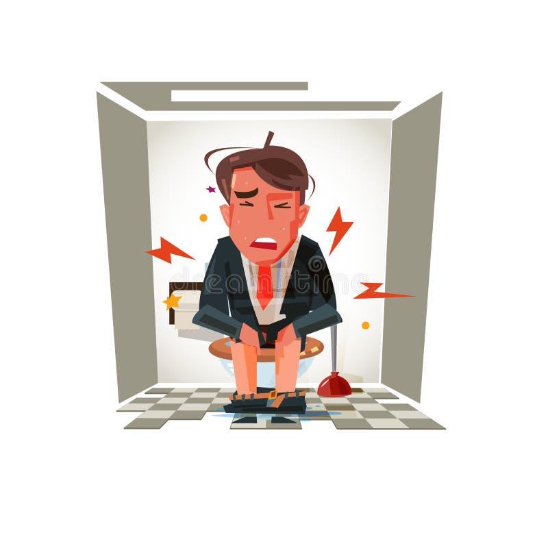 Diarrhöe oder Magenschmerzen, Charakterdesign - stock abbildung