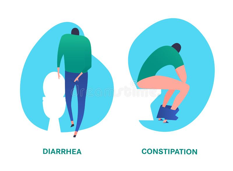 Diarrhea and constipation image vector illustration