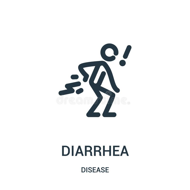 diarrhea icon vector from disease collection. Thin line diarrhea outline icon vector illustration. Linear symbol for use on web royalty free illustration