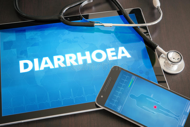 Diarrhoea (gastrointestinal disease related) diagnosis medical c. Oncept on tablet screen with stethoscope vector illustration