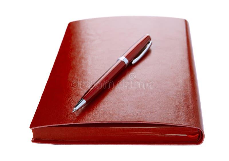 Diary and ball pen stock photo