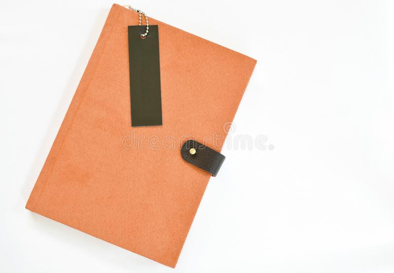 Diary book with black bookmark on white background royalty free stock image