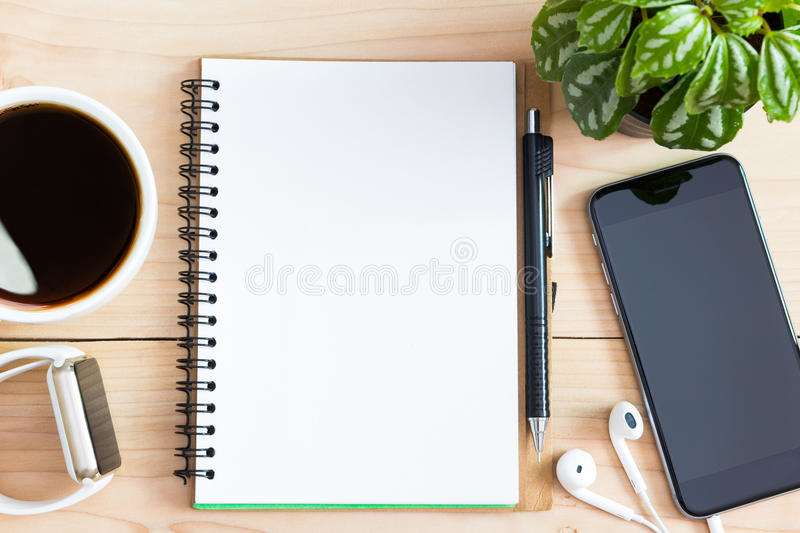 Diary book blank page on wood desk on top royalty free stock images