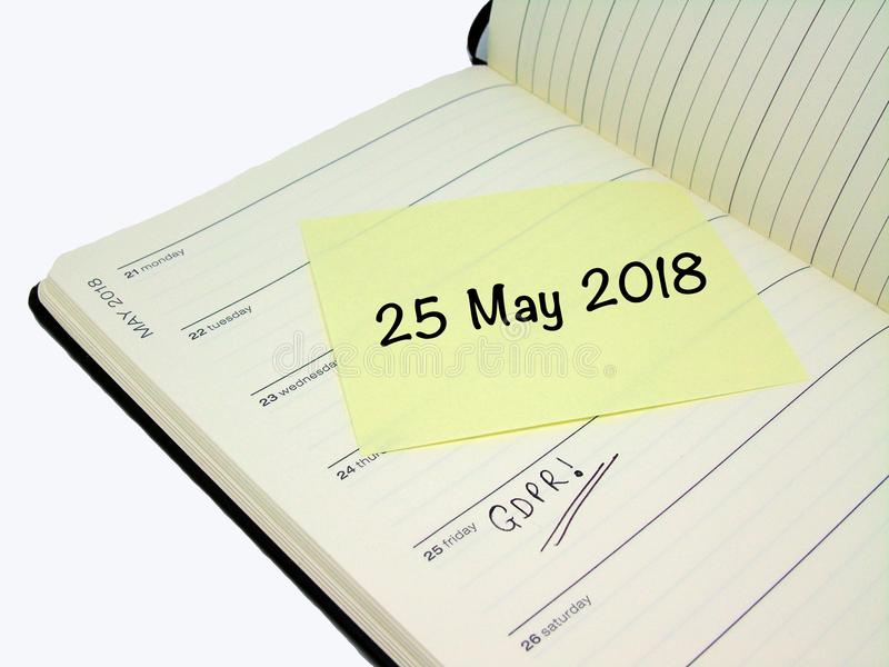 General Data Protection Regulation GDPR - 25 May 2018 royalty free stock images