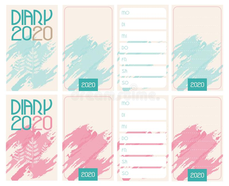 Simple diary 2020. Front page, week planner and page for notices. German version. Diary 2020. Front page, week planner and page for notices. German version vector illustration