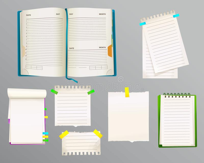 Diary and message notes vector illustration royalty free illustration