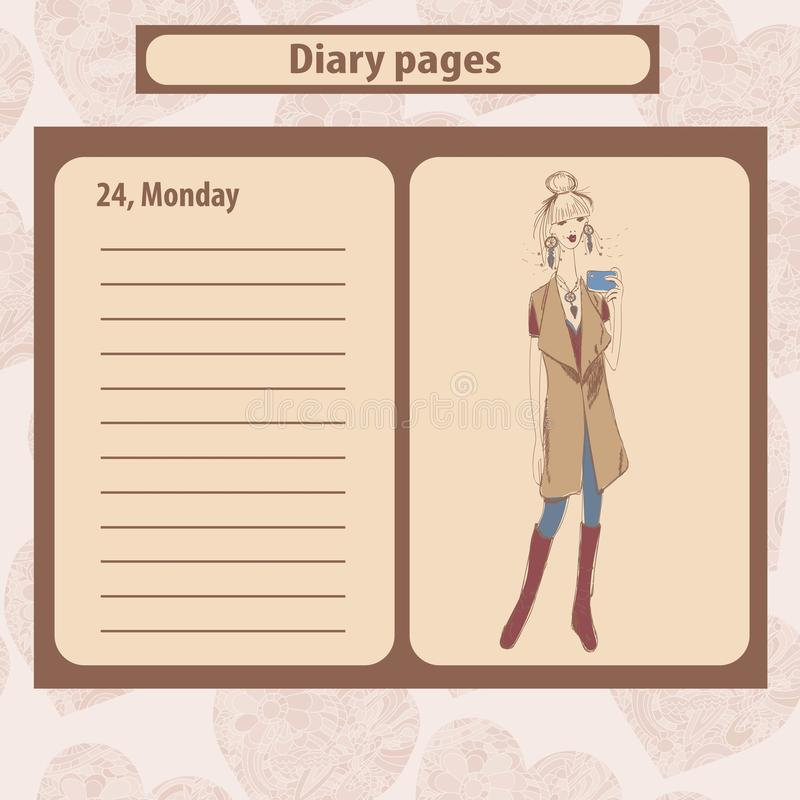 Diary or note pages with illustration of young fashion woman in boho style . royalty free illustration
