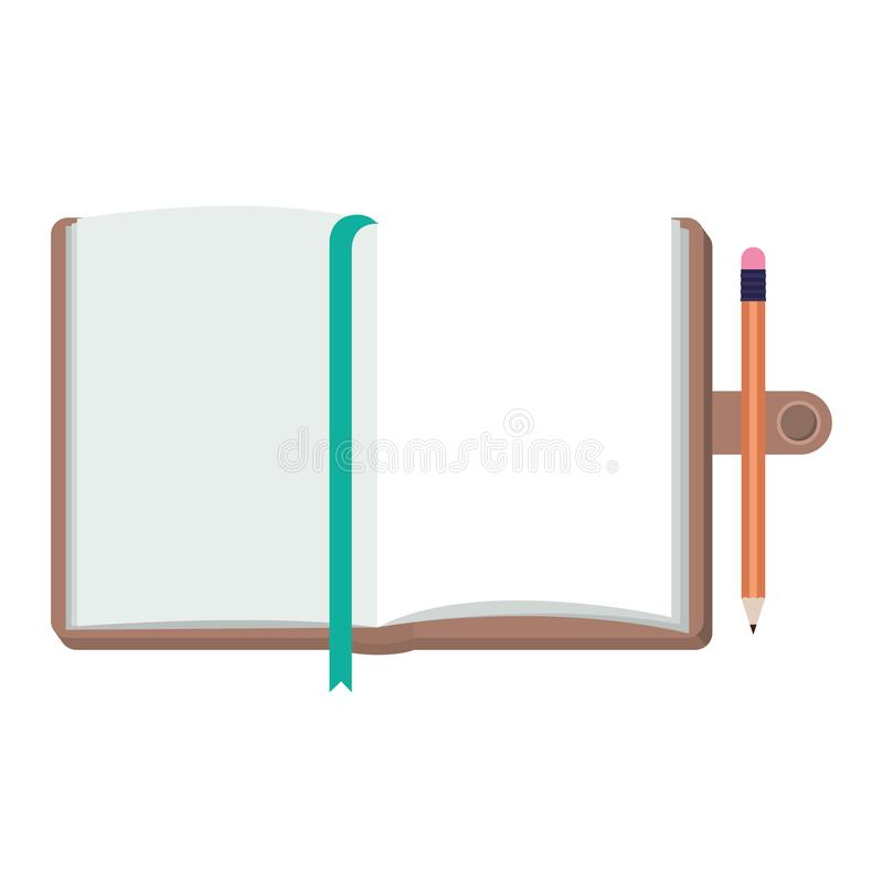 Diary open with pencil. Vector illustration design royalty free illustration