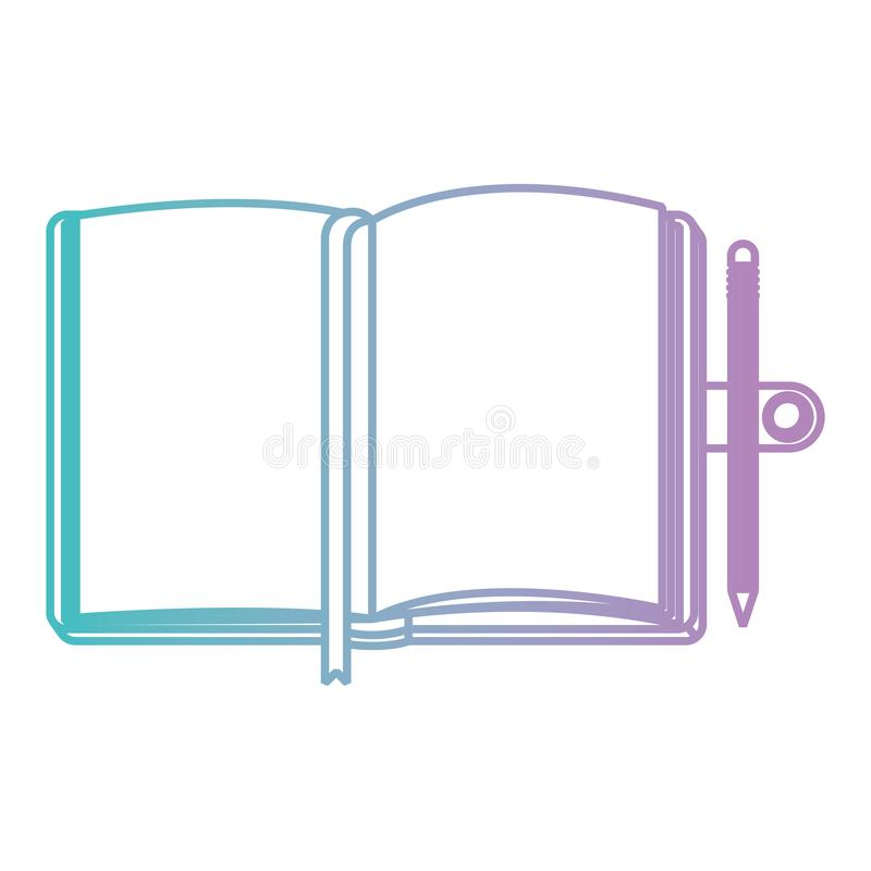 Diary open with pencil. Vector illustration design stock illustration