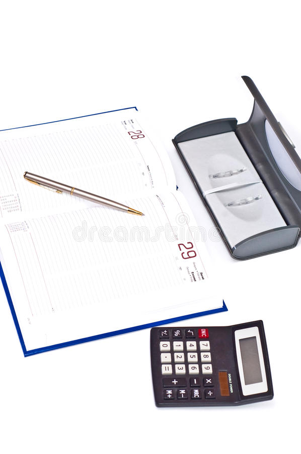 Download Diary pen and calculator stock photo. Image of working - 12563902