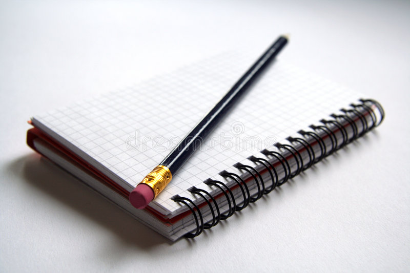Diary and pencil stock photo